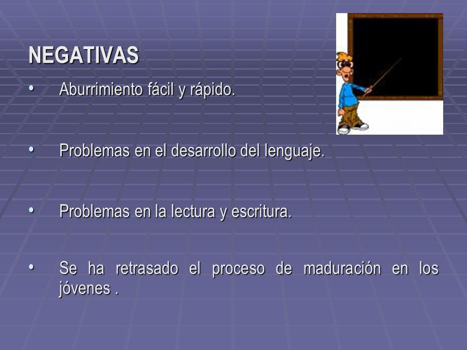 NEGATIVAS Aburrimiento fácil y rápido. Aburrimiento fácil y rápido. Problemas en el desarrollo del lenguaje. Problemas en el desarrollo del lenguaje.
