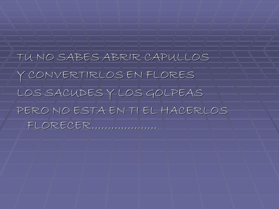 TU NO SABES ABRIR CAPULLOS Y CONVERTIRLOS EN FLORES LOS SACUDES Y LOS GOLPEAS PERO NO ESTA EN TI EL HACERLOS FLORECER………………..