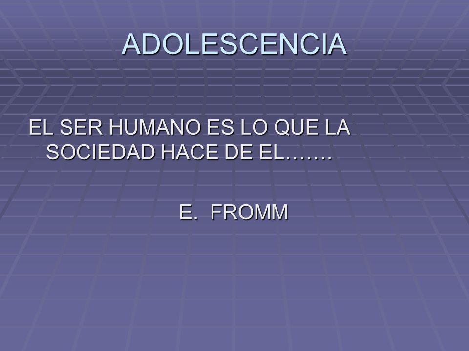 ADOLESCENCIA EL SER HUMANO ES LO QUE LA SOCIEDAD HACE DE EL……. E. FROMM E. FROMM