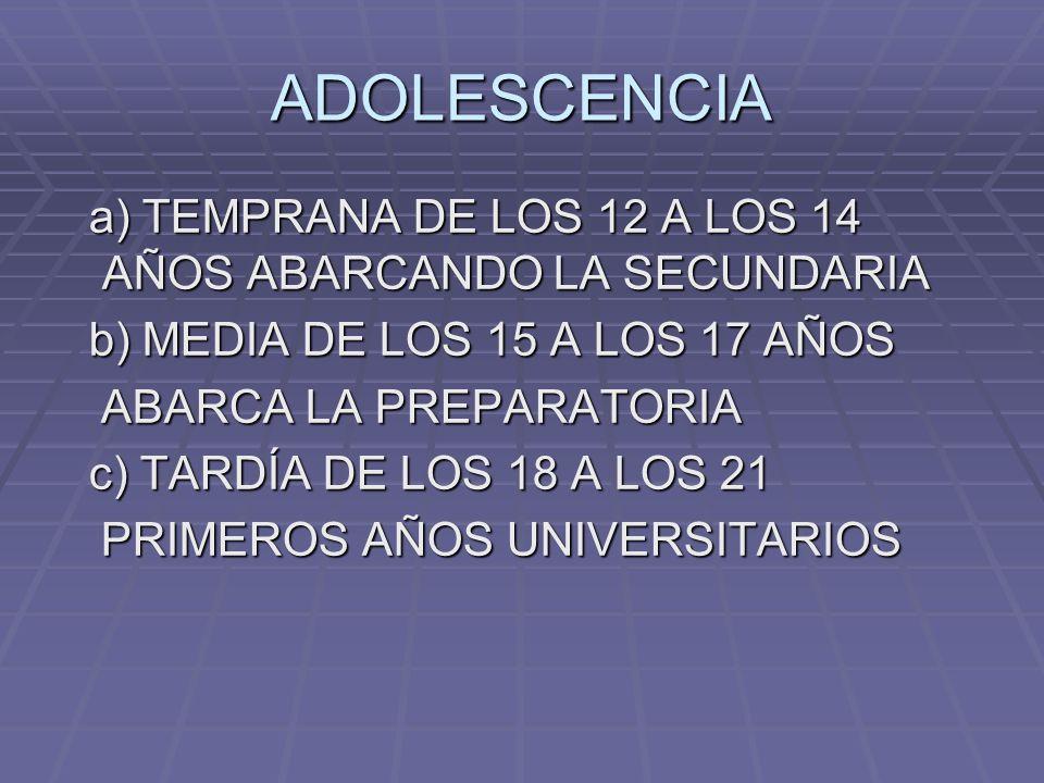 ADOLESCENCIA a) TEMPRANA DE LOS 12 A LOS 14 AÑOS ABARCANDO LA SECUNDARIA a) TEMPRANA DE LOS 12 A LOS 14 AÑOS ABARCANDO LA SECUNDARIA b) MEDIA DE LOS 1