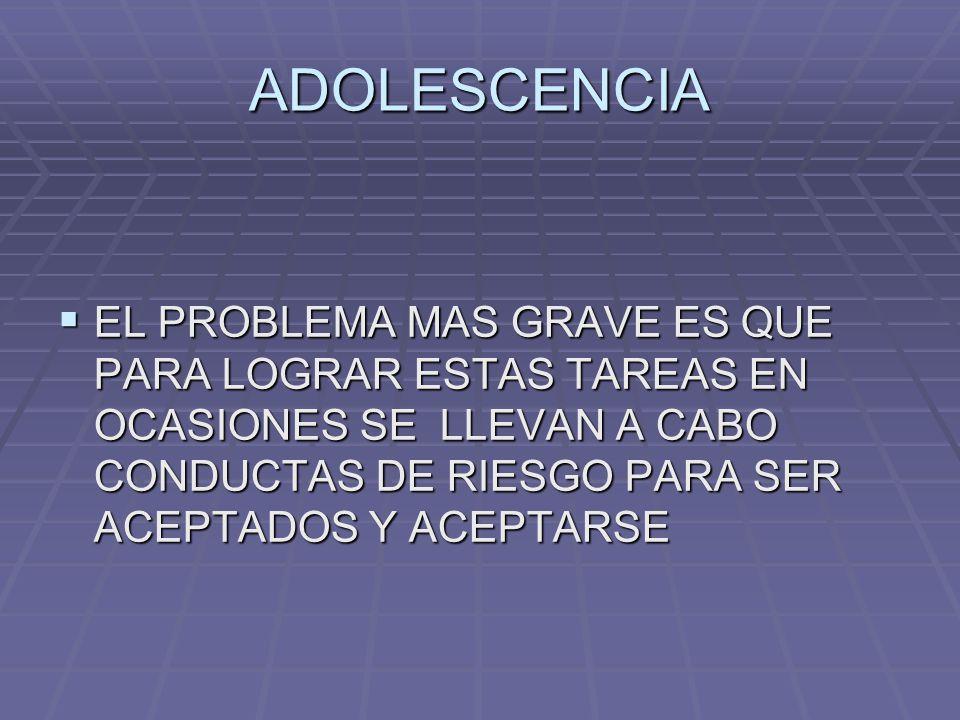 ADOLESCENCIA EL PROBLEMA MAS GRAVE ES QUE PARA LOGRAR ESTAS TAREAS EN OCASIONES SE LLEVAN A CABO CONDUCTAS DE RIESGO PARA SER ACEPTADOS Y ACEPTARSE EL
