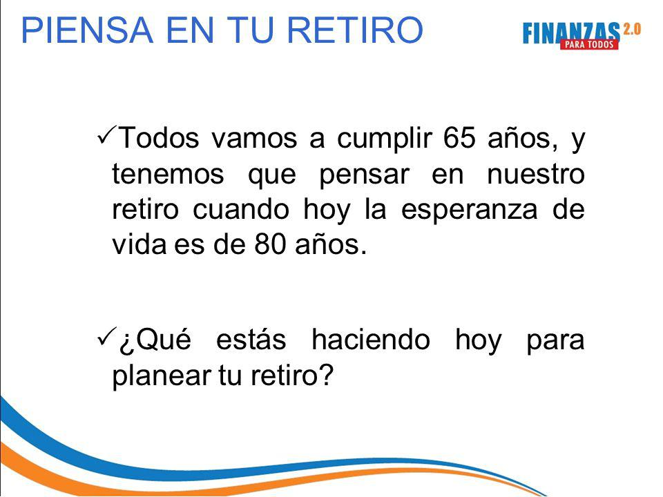 PIENSA EN TU RETIRO Todos vamos a cumplir 65 años, y tenemos que pensar en nuestro retiro cuando hoy la esperanza de vida es de 80 años. ¿Qué estás ha
