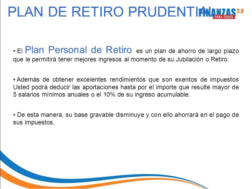 PLAN DE RETIRO PRUDENTIAL El Plan Personal de Retiro es un plan de ahorro de largo plazo que le permitirá tener mejores ingresos al momento de su Jubi
