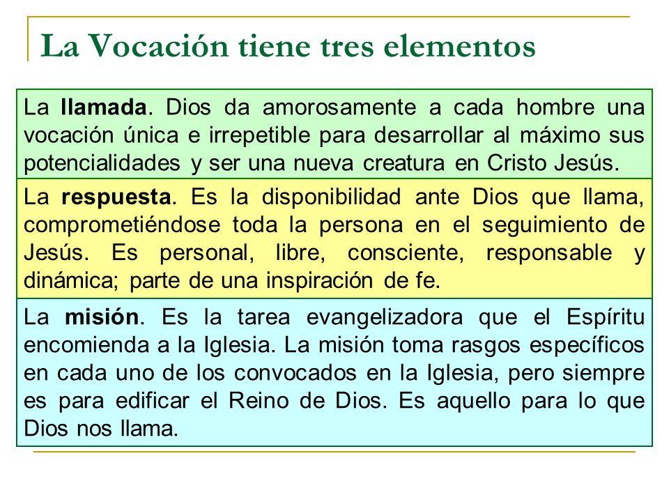 La Vocación tiene tres elementos La llamada. Dios da amorosamente a cada hombre una vocación única e irrepetible para desarrollar al máximo sus potenc