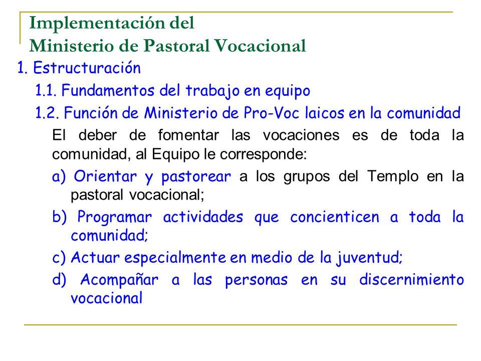 Implementación del Ministerio de Pastoral Vocacional 1. Estructuración 1.1. Fundamentos del trabajo en equipo 1.2. Función de Ministerio de Pro-Voc la