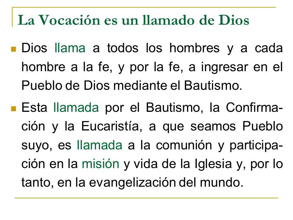 La Vocación es un llamado de Dios Dios llama a todos los hombres y a cada hombre a la fe, y por la fe, a ingresar en el Pueblo de Dios mediante el Bau