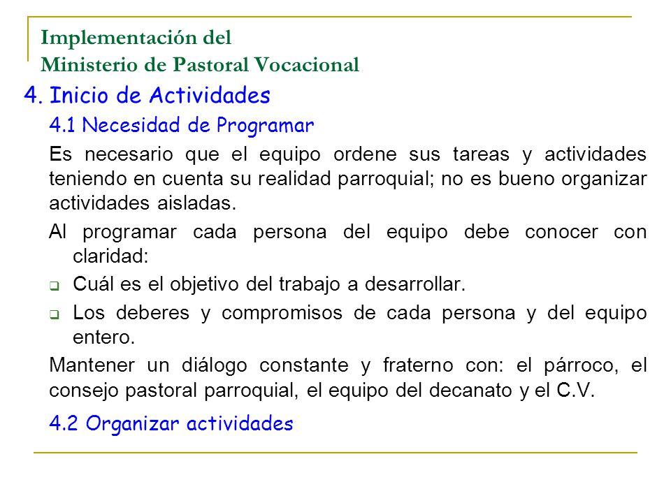 Implementación del Ministerio de Pastoral Vocacional 4. Inicio de Actividades 4.1 Necesidad de Programar Es necesario que el equipo ordene sus tareas