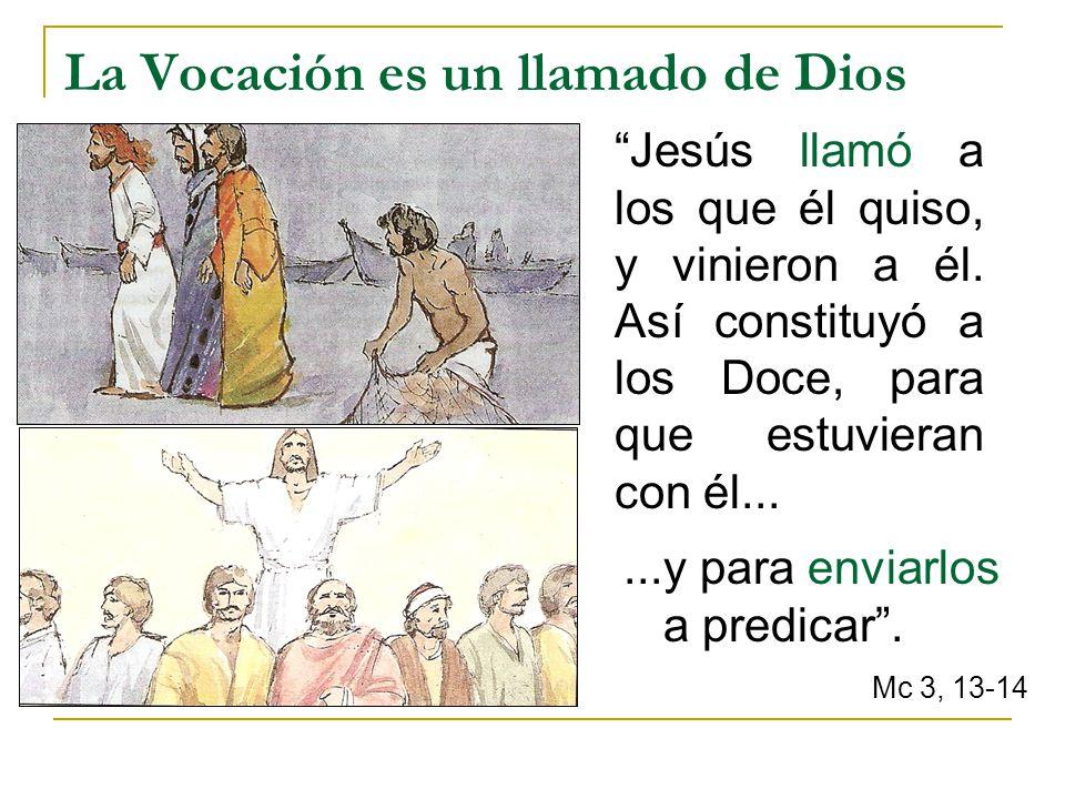 La Vocación es un llamado de Dios Jesús llamó a los que él quiso, y vinieron a él. Así constituyó a los Doce, para que estuvieran con él......y para e