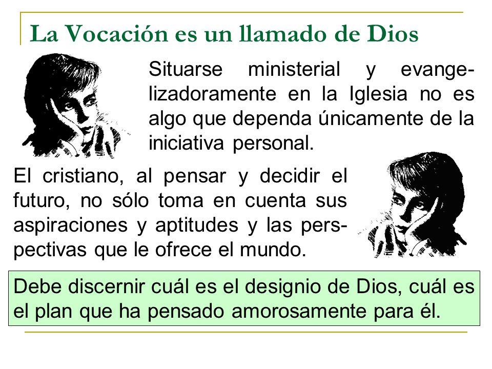 La Vocación es un llamado de Dios Situarse ministerial y evange- lizadoramente en la Iglesia no es algo que dependa únicamente de la iniciativa person