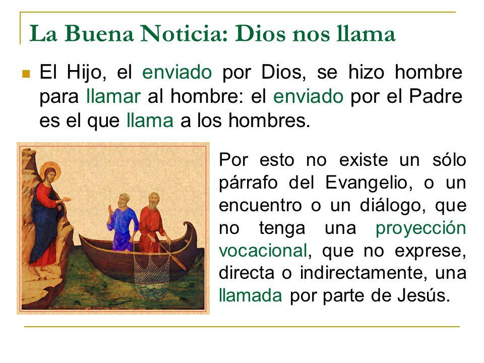 La Buena Noticia: Dios nos llama El Hijo, el enviado por Dios, se hizo hombre para llamar al hombre: el enviado por el Padre es el que llama a los hom