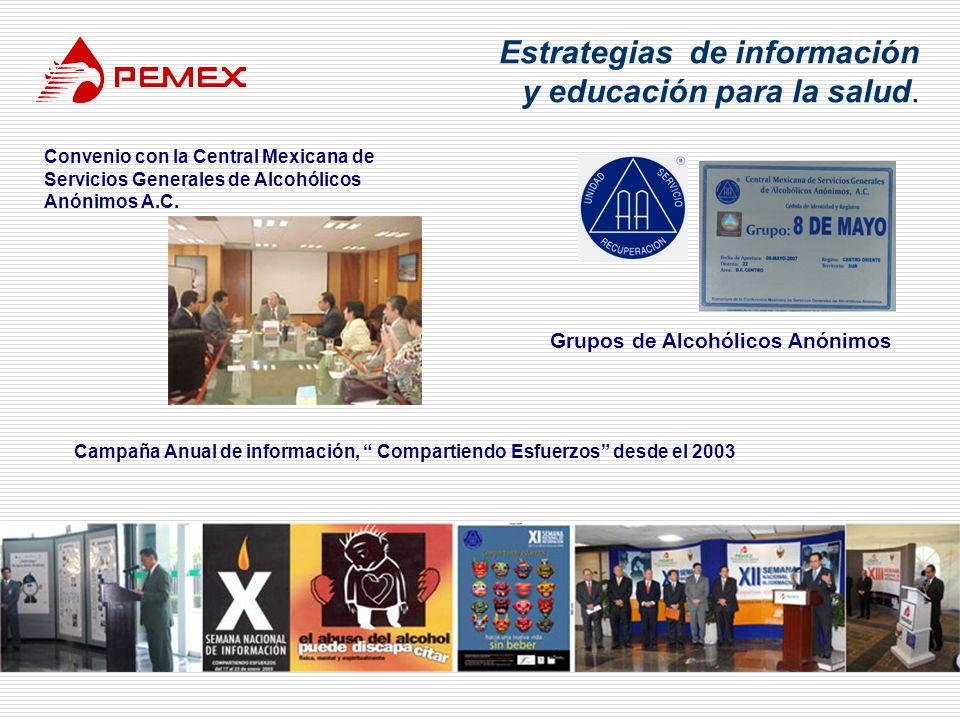 Estrategias de información y educación para la salud. Convenio con la Central Mexicana de Servicios Generales de Alcohólicos Anónimos A.C. Grupos de A