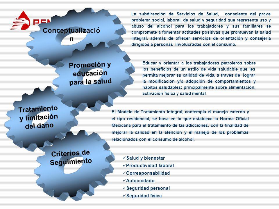 Conceptualizació n Tratamiento y limitación del daño Promoción y educación para la salud Criterios de Seguimiento La subdirección de Servicios de Salu