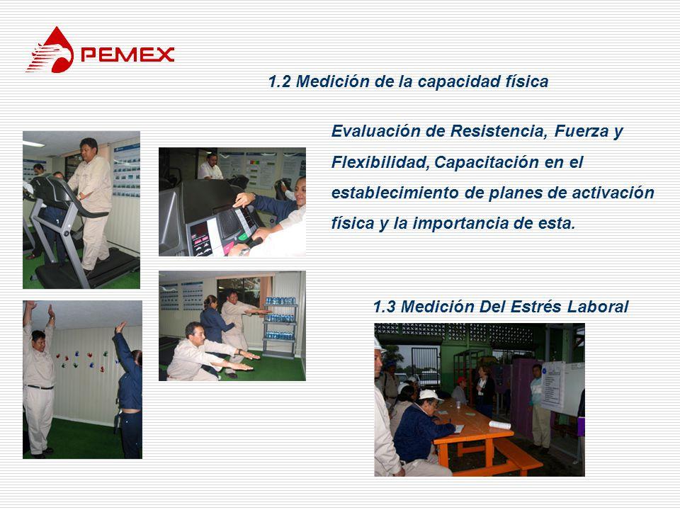 1.2 Medición de la capacidad física 1.3 Medición Del Estrés Laboral Evaluación de Resistencia, Fuerza y Flexibilidad, Capacitación en el establecimien