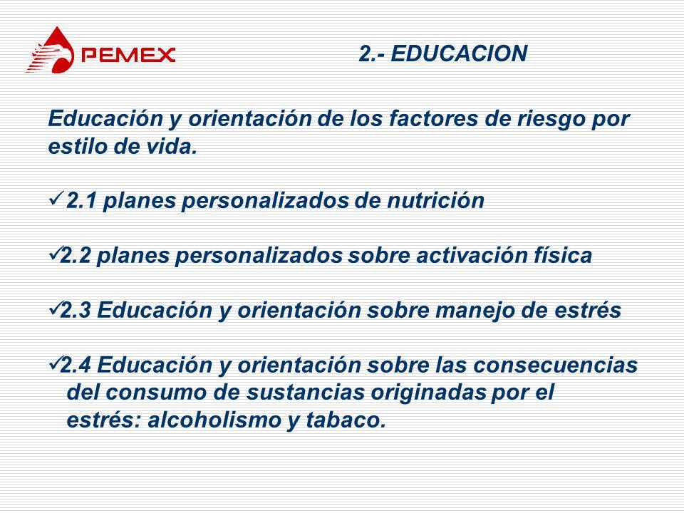 2.- EDUCACION Educación y orientación de los factores de riesgo por estilo de vida. 2.1 planes personalizados de nutrición 2.2 planes personalizados s