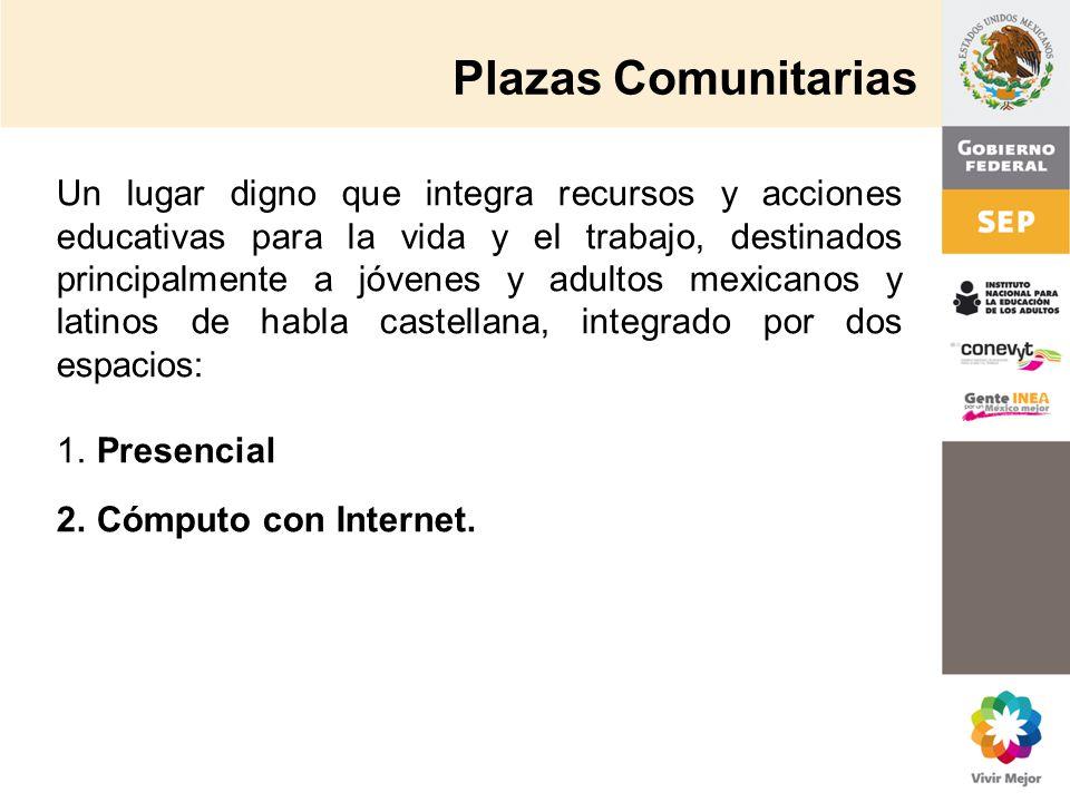 Plazas Comunitarias Un lugar digno que integra recursos y acciones educativas para la vida y el trabajo, destinados principalmente a jóvenes y adultos