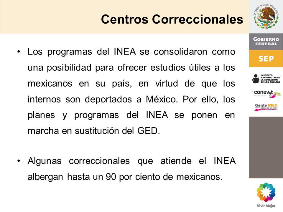 Centros Correccionales Los programas del INEA se consolidaron como una posibilidad para ofrecer estudios útiles a los mexicanos en su país, en virtud