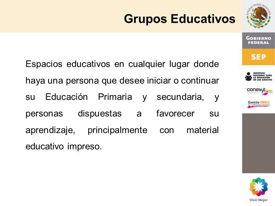 Grupos Educativos Espacios educativos en cualquier lugar donde haya una persona que desee iniciar o continuar su Educación Primaria y secundaria, y pe