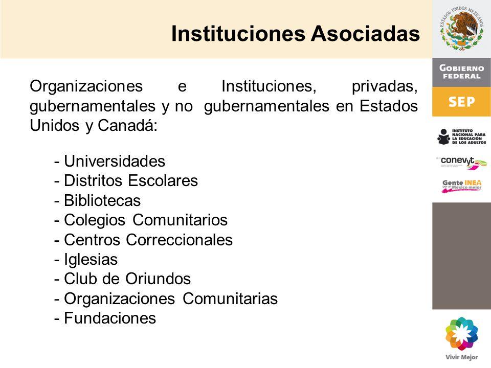 Instituciones Asociadas Organizaciones e Instituciones, privadas, gubernamentales y no gubernamentales en Estados Unidos y Canadá: - Universidades - D