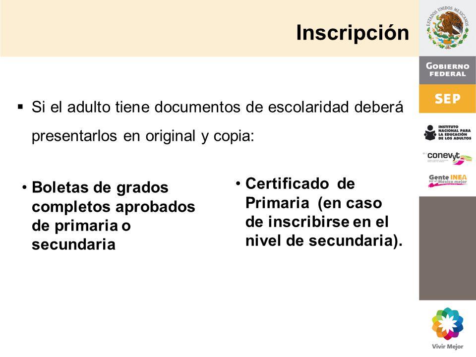 Inscripción Boletas de grados completos aprobados de primaria o secundaria Si el adulto tiene documentos de escolaridad deberá presentarlos en origina