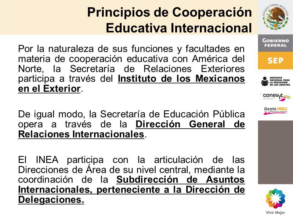 Principios de Cooperación Educativa Internacional Por la naturaleza de sus funciones y facultades en materia de cooperación educativa con América del