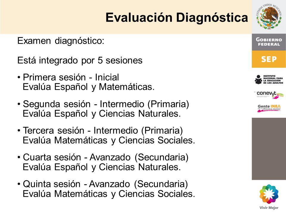 Examen diagnóstico: Está integrado por 5 sesiones Primera sesión - Inicial Evalúa Español y Matemáticas. Segunda sesión - Intermedio (Primaria) Evalúa
