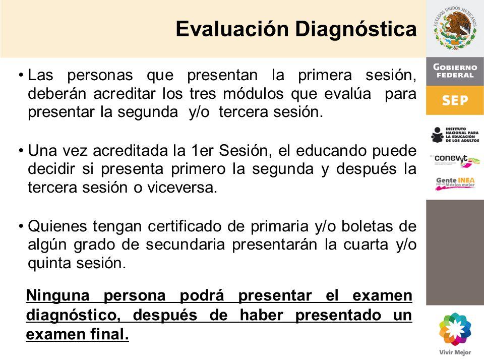 Evaluación Diagnóstica Las personas que presentan la primera sesión, deberán acreditar los tres módulos que evalúa para presentar la segunda y/o terce