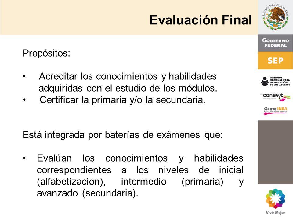 Evaluación Final Propósitos: Acreditar los conocimientos y habilidades adquiridas con el estudio de los módulos. Certificar la primaria y/o la secunda
