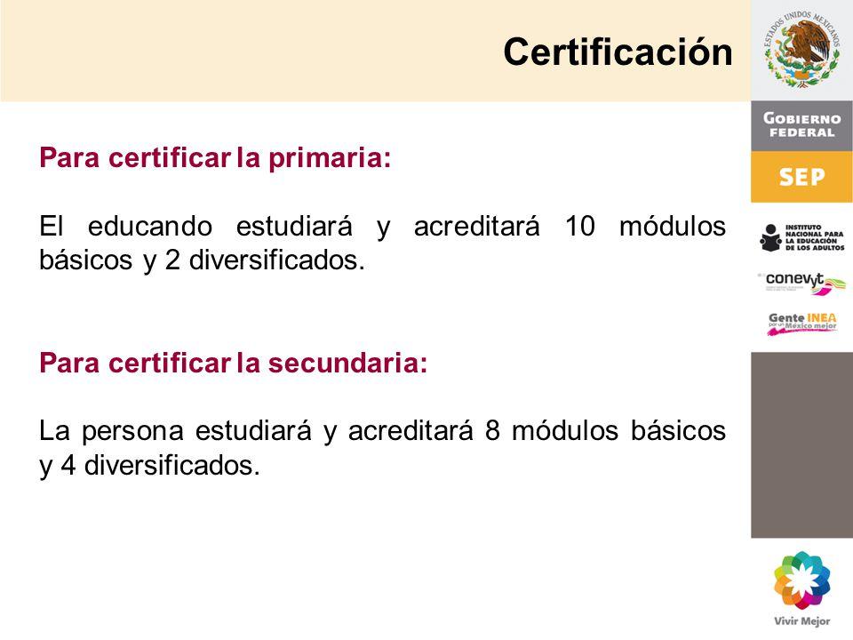 Para certificar la primaria: El educando estudiará y acreditará 10 módulos básicos y 2 diversificados. Para certificar la secundaria: La persona estud