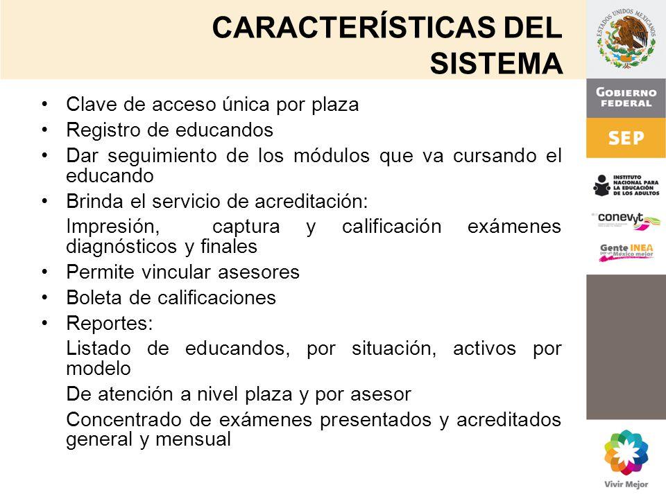 CARACTERÍSTICAS DEL SISTEMA Clave de acceso única por plaza Registro de educandos Dar seguimiento de los módulos que va cursando el educando Brinda el