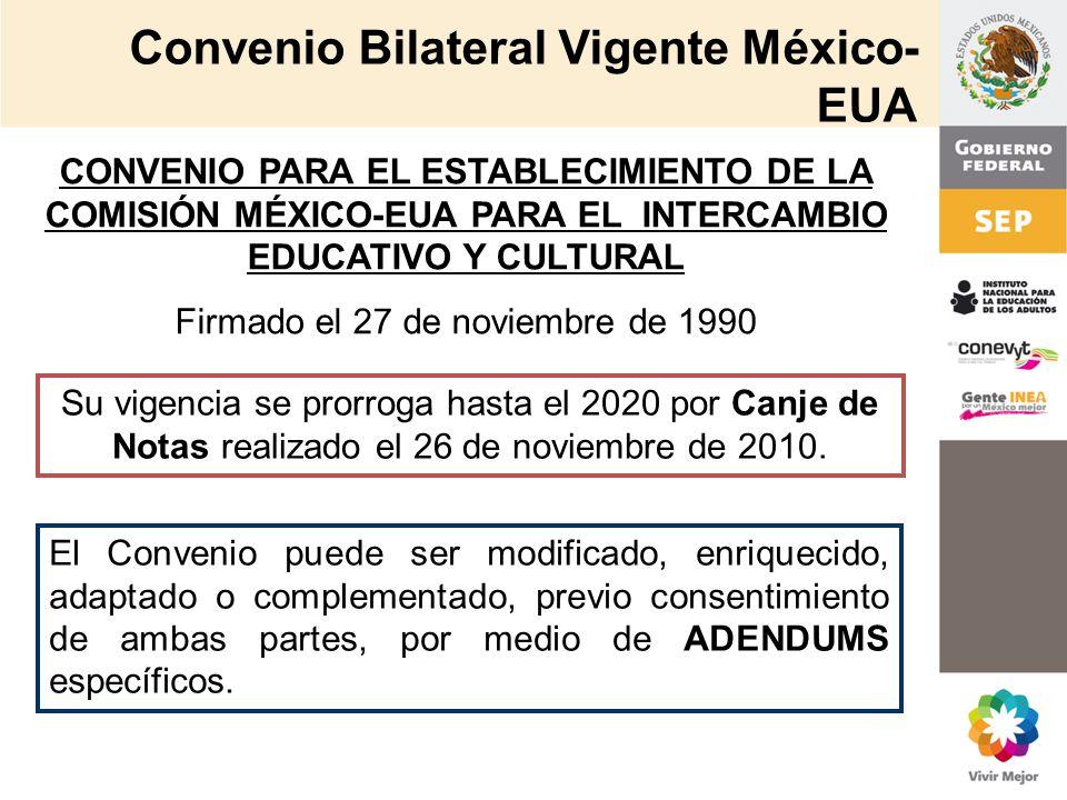Convenio Bilateral Vigente México- EUA CONVENIO PARA EL ESTABLECIMIENTO DE LA COMISIÓN MÉXICO-EUA PARA EL INTERCAMBIO EDUCATIVO Y CULTURAL Firmado el