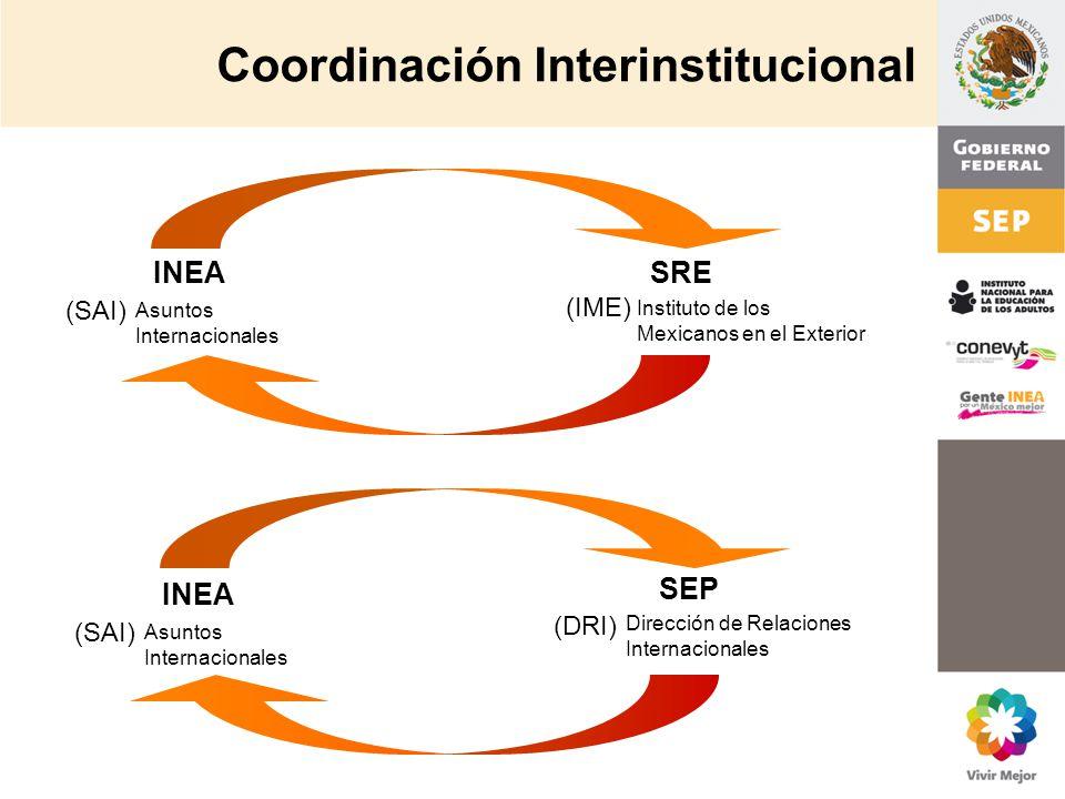 INEA Asuntos Internacionales SRE Instituto de los Mexicanos en el Exterior SEP (DRI) Dirección de Relaciones Internacionales (SAI) (IME) INEA Asuntos