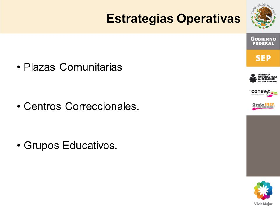 Estrategias Operativas Plazas Comunitarias Centros Correccionales. Grupos Educativos.