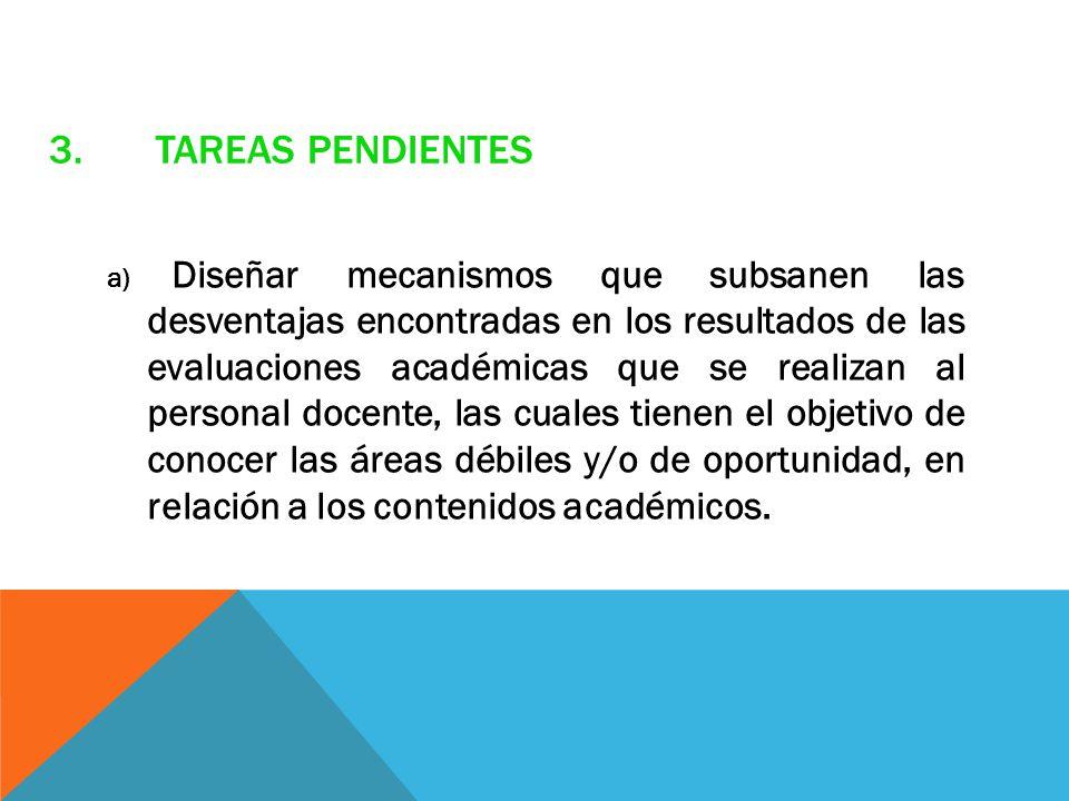 3.TAREAS PENDIENTES a) Diseñar mecanismos que subsanen las desventajas encontradas en los resultados de las evaluaciones académicas que se realizan al