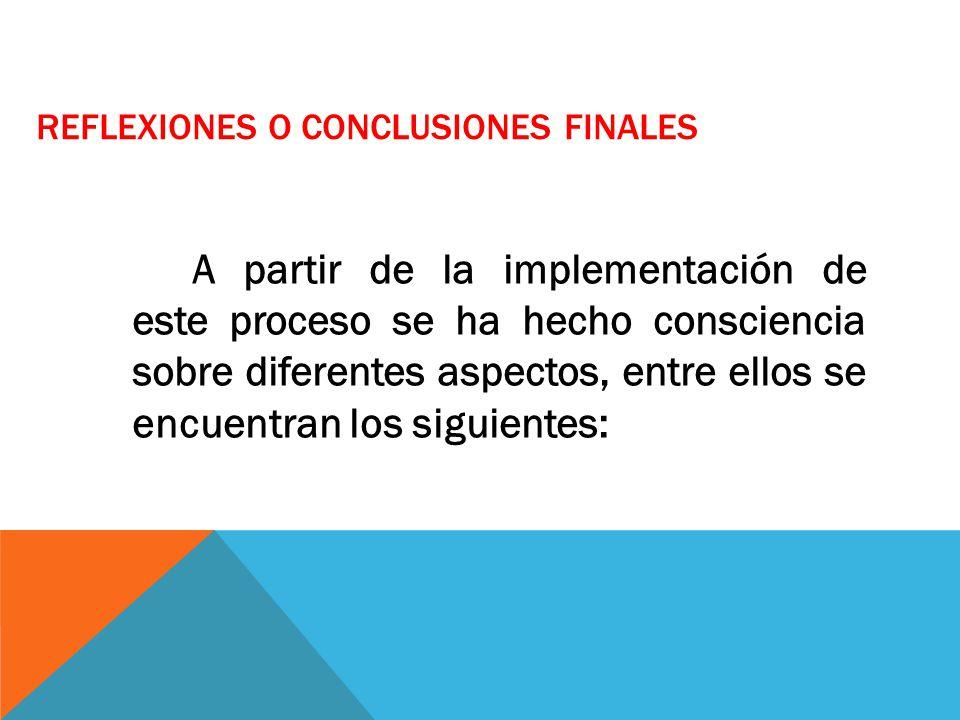 REFLEXIONES O CONCLUSIONES FINALES A partir de la implementación de este proceso se ha hecho consciencia sobre diferentes aspectos, entre ellos se enc