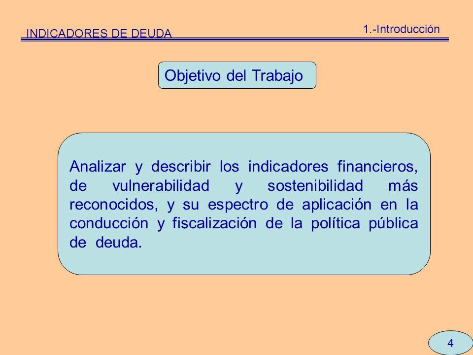 INDICADORES DE DEUDA 1.-Introducción 4 Analizar y describir los indicadores financieros, de vulnerabilidad y sostenibilidad más reconocidos, y su espe