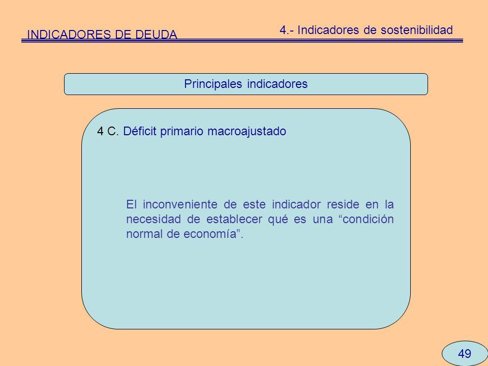 Principales indicadores 49 4 C. Déficit primario macroajustado El inconveniente de este indicador reside en la necesidad de establecer qué es una cond