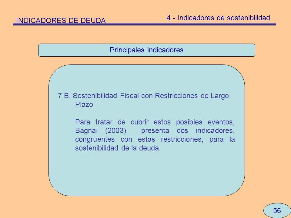 Principales indicadores 56 7 B. Sostenibilidad Fiscal con Restricciones de Largo Plazo Para tratar de cubrir estos posibles eventos, Bagnai (2003) pre