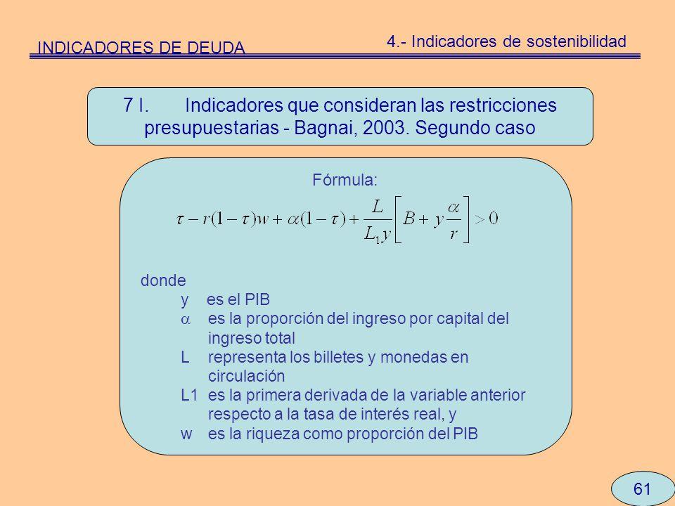 61 7 I. Indicadores que consideran las restricciones presupuestarias - Bagnai, 2003. Segundo caso Fórmula: donde y es el PIB es la proporción del ingr