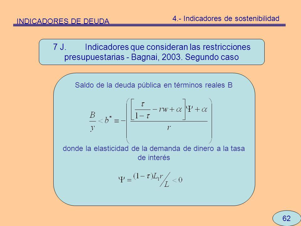 62 7 J. Indicadores que consideran las restricciones presupuestarias - Bagnai, 2003. Segundo caso Saldo de la deuda pública en términos reales B donde