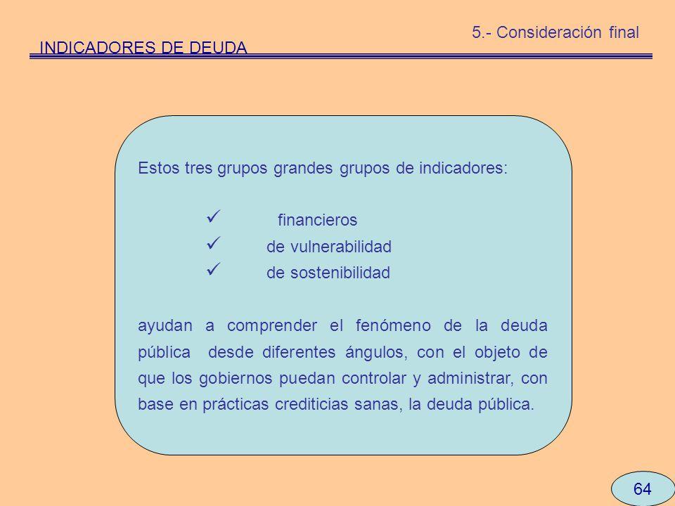 64 INDICADORES DE DEUDA 5.- Consideración final Estos tres grupos grandes grupos de indicadores: financieros de vulnerabilidad de sostenibilidad ayuda