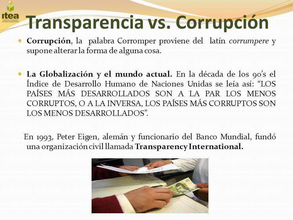 Transparencia vs. Corrupción Corrupción, la palabra Corromper proviene del latín corrumpere y supone alterar la forma de alguna cosa. La Globalización
