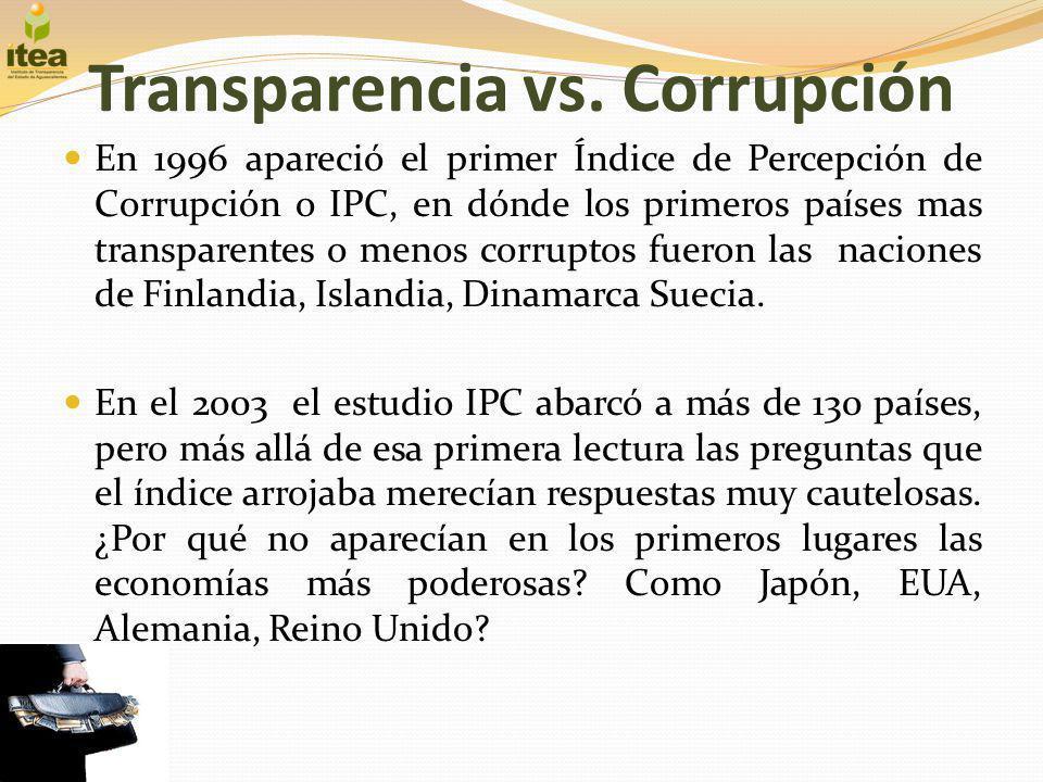 Transparencia vs. Corrupción En 1996 apareció el primer Índice de Percepción de Corrupción o IPC, en dónde los primeros países mas transparentes o men