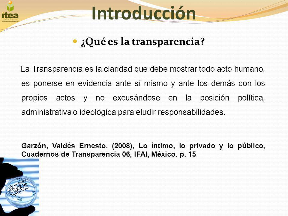 Introducción ¿Qué es la transparencia? La Transparencia es la claridad que debe mostrar todo acto humano, es ponerse en evidencia ante sí mismo y ante