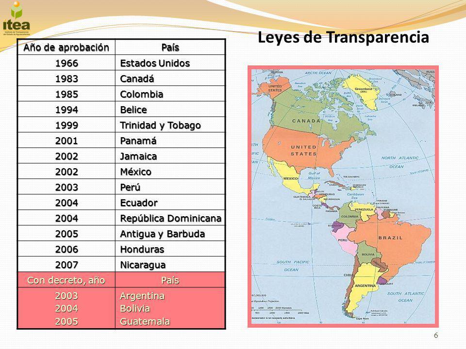 Leyes de Transparencia 6 Año de aprobación País 1966 Estados Unidos 1983Canadá 1985Colombia 1994Belice 1999 Trinidad y Tobago 2001Panamá 2002Jamaica 2