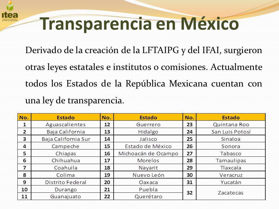 Transparencia en México Derivado de la creación de la LFTAIPG y del IFAI, surgieron otras leyes estatales e institutos o comisiones. Actualmente todos