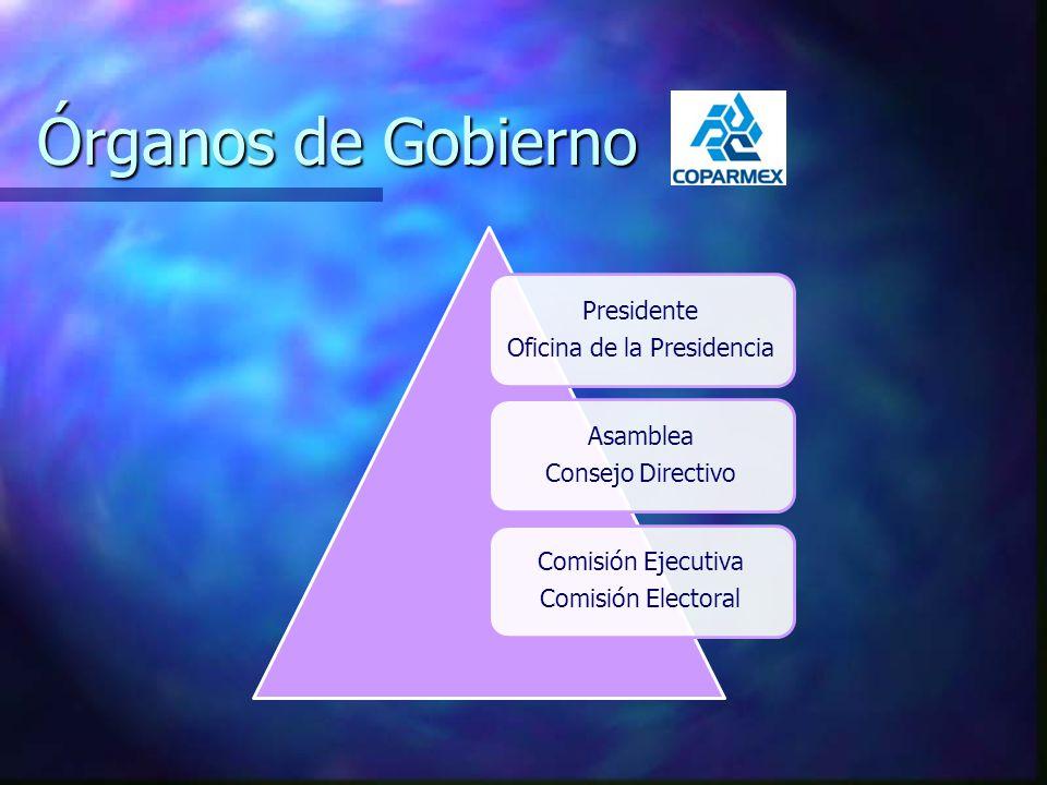 Órganos de Gobierno Presidente Oficina de la Presidencia Asamblea Consejo Directivo Comisión Ejecutiva Comisión Electoral