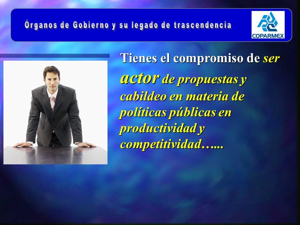 Tienes el compromiso de ser actor de propuestas y cabildeo en materia de políticas públicas en productividad y competitividad…...