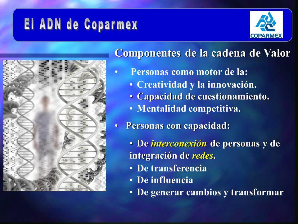 Componentes de la cadena de Valor Personas como motor de la: Creatividad y la innovación.