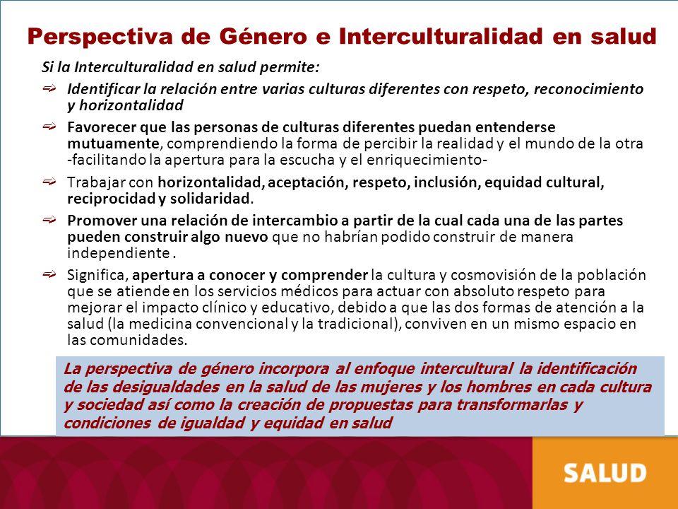 Perspectiva de Género e Interculturalidad en salud Si la Interculturalidad en salud permite: Identificar la relación entre varias culturas diferentes