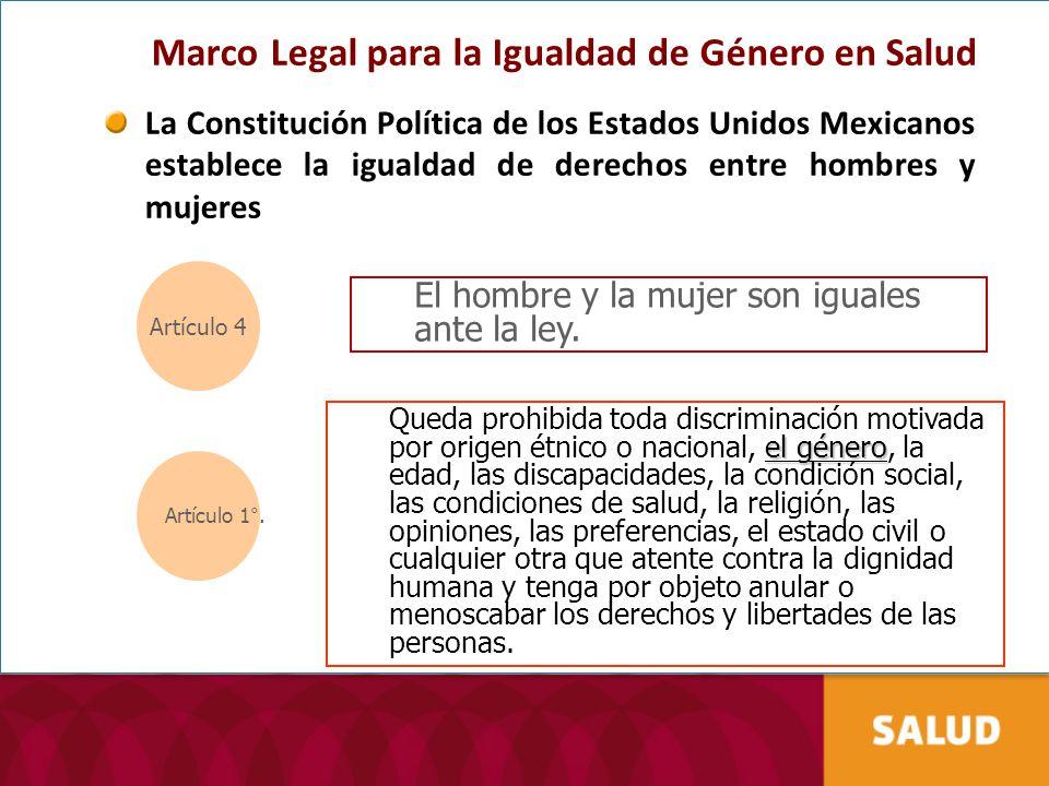 Marco Legal para la Igualdad de Género en Salud La Constitución Política de los Estados Unidos Mexicanos establece la igualdad de derechos entre hombr